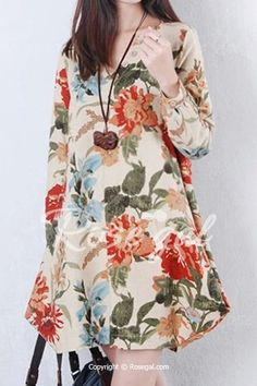 Vintage Floral Printed V Neck Asymmetry Hem Long Sleeve Loose Women Dress is high-quality, see other cheap summer dresses on NewChic Mobile. Cheap Summer Dresses, Casual Dresses For Women, Clothes For Women, Curve Dresses, Mode Hijab, Vintage Style Dresses, Fashion Dresses, Womens Fashion, Outfits