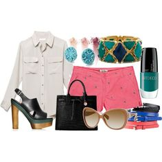 Palm Trees and a Touch of Teal, created by bebopclothing on Polyvore