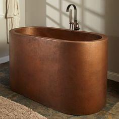 "Signature Hardware 921994-60 Watson 60"" Double Wall Copper Soaking Tub Antique Copper Patina Tub Soaking Freestanding"