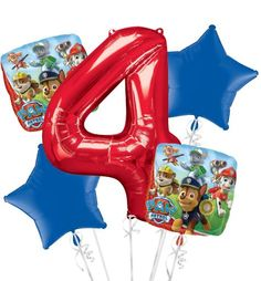 PAW Patrol 4th Birthday Balloon Bouquet 5pc - Party City