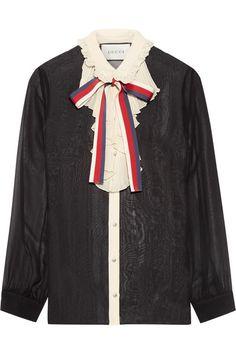 Gucci - Ruffle-trimmed Silk-georgette Shirt - Black - IT