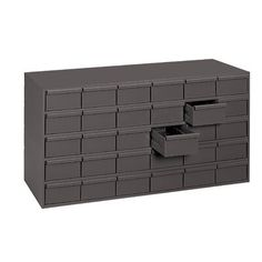 Durham Manufacturing Durham prime cold rolled steel construction cabinet. High density drawer cabinet makes it easy to store large quantities of small parts.  Drawers feature interlocking design for superior strength. Drawers easy glide runners. Each drawer includes 2 easy to label dividers. Can be stacked using mounting holes. There is a modular with other drawer cabinets and bins. It has a durable grey powder coat finish. Nut And Bolt Storage, Small Parts Organizer, Cabinet Parts, Cold Rolled, Cabinet Making, Garage Shop, Garage Storage, Durham, Shelving
