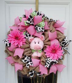 Spring Burlap Wreath, Pig Burlap Wreath, Pig Front Door Wreath, Pink Wreath, Country Decor, Pig Decor, Pig Door Decor, Animal Wreath by MeshWreathsnMore on Etsy