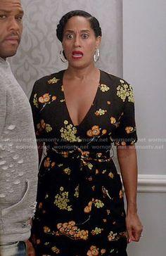 Rainbow's black floral wrap dress on Black-ish.  Outfit Details: https://wornontv.net/61903/ #Blackish