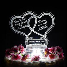 Double Heart Wedding Cake Topper  Light Up by FinesseLaserDesigns