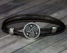 Celtic Knot Leather Bracelet  Handmade Leather by TheSonderShoppe