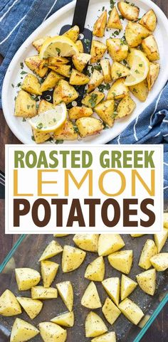 These Greek lemon potatoes have the perfect roasted texture and amazing flavor. Made from my mom's authentic recipe, they make a great side to any meal! #greekrecipes #vegansidedishes Greek Recipes, Whole Food Recipes, Vegan Recipes, Easy Roasted Potatoes, Greek Lemon Potatoes, Falafel Sandwich, Greek Gyros, Simple Green Salad, Vegan Side Dishes