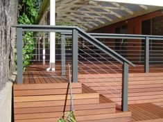 Best Ideas For Timber Deck Stairs House Outdoor Stair Railing, Deck Railing Design, Patio Deck Designs, Deck Stairs, Deck Railings, House Stairs, Garden Railings, Timber Stair, Timber Deck