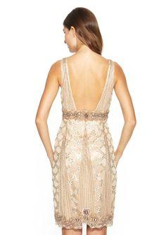 SUE WONG Sleeveless Lace Overlay Dress Back Detail