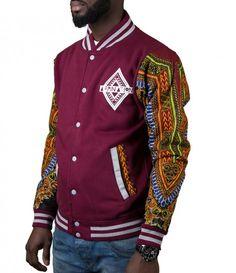 Limited Edition Afrination Burgandy Dashiki Varsity Jacket African Inspired Fashion, African Print Fashion, Africa Fashion, African Fashion Dresses, African Attire For Men, African Wear, African Dress, African Print Clothing, African Shirts