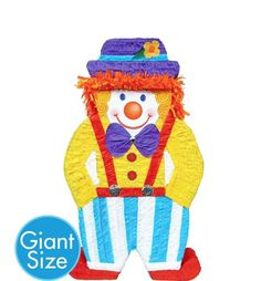 Giant Clown Pinata 36 1/2in x 21 1/2in x 4 3/4in - Party City