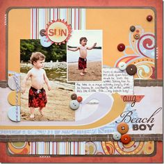 grouping buttons, curved edges, neat journaling block, overlapping pics.