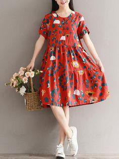 Women Printed High Waist Short Sleeve Buttons Vintage Dresses