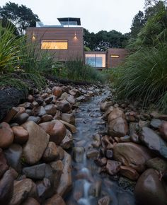 Castor Bay Stream House by Haven Renovations Residential Architecture, Architecture Design, Garden Pond Design, Space Time, New Builds, Black House, Exterior, House Design, Landscape