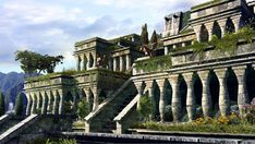 An artists rendition of the Hanging Gardens of Babylon. We can see the use of arcades, or side-by-side arches. Arches were first used in Mesopotamia. Ancient Myths, Ancient Art, Ancient History, Ancient Beauty, Ancient Greek, Ancient Mesopotamia, Ancient Civilizations, Cradle Of Civilization, Bagdad