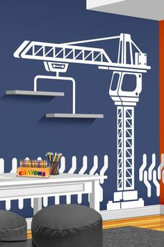 Construction Crane Vinyl Wall Decal - Boys Bedroom Wall Decal - Nursery Decor - Construction Wall Decor - Playroom Decal - Crane Wall Decal - Kinderzimmer junge - Pictures on Wall ideas Trendy Bedroom, Kids Bedroom, Blue Bedroom, Room Ideias, Construction Bedroom, Construction Wallpaper, Crane Construction, Nursery Decor, Bedroom Decor