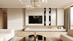 The design is based on Creamy fabrics and golden surfaces to evoke a luxurious look. Dream Home Design, House Design, Tv Feature Wall, Tv Wall Design, Austin Homes, Media Wall, Luxury Interior Design, Room Colors, Living Room Interior