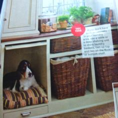 Handy Hide a dog!! Love the built in crate for the dog .. Featured in Better Homes and Garden 2012