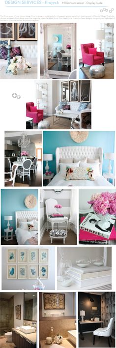 love the hot pink chair, striped wall, and octopus art!! By The Cross interior design department - www.thecrossdesign.com