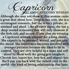 The Capricorn woman - I don't quite get the younger guy thing, but otherwise fairly accurate.