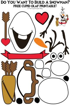 Valentines printables free - Do You Want To Build A Snowman Cupid Olaf Edition! Valentines Day Activities, Valentine Day Crafts, Holiday Crafts, Olaf Craft, Ninja Turtle Birthday, Turtle Party, Olaf Party, Disney Valentines, Christmas Party Games