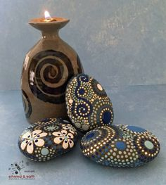 Hand Painted Stones - blue luminescence collection Trio #51 (1) 3.25 X 2.75 X .50 (1) 3 X 2.50 X .50 (1) 3 X 2.25 X .50 - Total Weight - 21 ounces   Natural Home Decor - Garden Elements - Weather Resistant. Mandala & Celtic Spiral Inspired Design  The place or moment between this world and other worlds is sometimes shown to us in a glimpse. A mere movement seen from the corner of your eye or a whispered rustle of leaves. Nature can be as solid as a stone in the hand, or as ethereal as a…