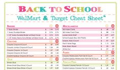 Wal-mart/Target school supply comparison