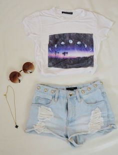 High waisted shorts and a graphic tee. Except my booty would fall out of these specific ones
