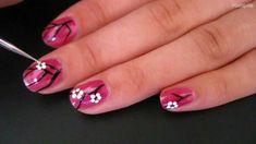Easy Cherry Blossom Nail Art for Short Nails