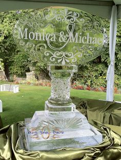 Oval Monogram on detailed pedestal ice sculpture by Art Below Zero, via Flickr