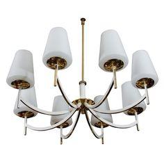 Mid Century Enameled Brass Chandelier W/ Milk Glass Shades