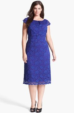 wish it had longer sleeves. ABS by Allen Schwartz Lace Pencil Dress (Plus Size) available at Dresses To Wear To A Wedding, Grad Dresses, Casual Dresses, Short Dresses, Fashion Dresses, Formal Dresses, Modest Fashion, Xl Mode, Derby Outfits