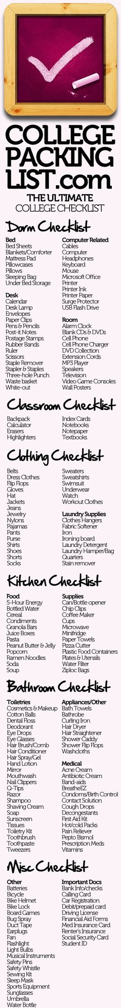 ultimate college packing list - also an iPhone app This site has a lot of other really awesome dorm info! ultimate college packing list - also an iPhone app This site has a lot of other really awesome dorm info! College Packing Checklist, Packing Hacks, Dorm Checklist, College Essentials, College Planning, College Necessities, University Checklist, Apartment Checklist, Moving Checklist