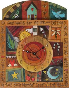 reminds me of the stuff in that one shoppe in Saugatuck,MI Whimsical Painted Furniture, Hand Painted Furniture, Paint Furniture, Furniture Makeover, Clock Painting, Diy Painting, Painting On Wood, Tole Decorative Paintings, Sticks Furniture
