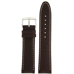 Ankola Extra Thick Padded Watch Band Genuine Leather Dark Brown 20 millimeters White Stitching Tech Swiss