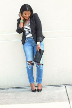 boyfriend jeans and striped