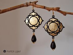 Paper Leaf | Lotus Flower | paper earrings with imitation gold leaf and black onyx