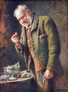 'The Treasured Yellow-Boy,' a watercolor by Charles Spencelayh, estimated at £15,000-£20,000. Photo Peter Wilson auctioneers