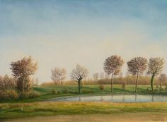 dany persoons, Autumn along the fishpond on ArtStack #dany-persoons #art