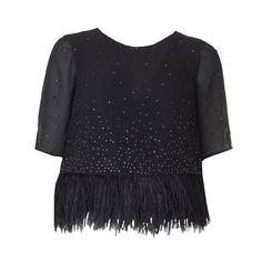 French Connection Sequin And Feather Detail Top (675 RON) ❤ liked on Polyvore featuring tops, black, sequin holiday tops, evening tops, sequin crop top, sparkly tops and crop top