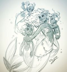 Quick work break. Just wanted to practice drawing a group and this mermaid family came out. #art #drawing #sketch #doodle #digitalart #mermaid #siren #family #group #practice #mermaids #mermaidlife...