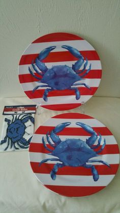 Blue Crab Melamine Dinner Plates Bibs Nautical  Set of 4 NWT #Nantucket