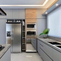 Linda combinação cinza + madeira 😍 Projeto Marilia Zimermann #kitchendesign Kitchen Pantry Design, Luxury Kitchen Design, Home Decor Kitchen, Interior Design Kitchen, Home Kitchens, Cozy Kitchen, Kitchen Modular, Modern Kitchen Cabinets, Kitchen Wood