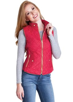 Quilted Padded Zipper Vest J1409C, clothing, clothes, womens clothing, jeans, tops, womens dress