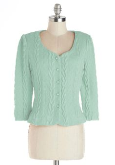 Honeycomb, I'm Home Cardigan in Mint. Nothings sweeter than a welcoming embrace from family and friends, but the darling accents on this knit cardigan certainly come close! #mint #modcloth