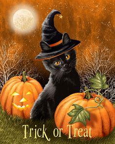 Trick or Treat by Thomas Wood ~ black cat ~ pumpkins