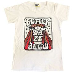 Better Daze, hand drawn tee, 70's rainbow shirt, 70's women's graphic... ($45) ❤ liked on Polyvore featuring tops, t-shirts, vintage shirts, white shirt, rainbow t shirt, oversized t shirt and white cotton shirt