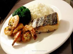 My Poems, Recipes, English & Sinhala Lyrics, Quotes.....: Plain rice Prawns grilled Salmon steamed with pepp...