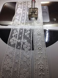 I have been making a fancy band with French cotton lace. Now I'm adding a row of… I have been making a fancy band with French cotton lace. Now I'm adding a row of Swiss cotton lace with entredeux.It is attached using… Sewing Lace, Baby Sewing, Vintage Sewing, Fabric Sewing, Fabric Crafts, Sewing Crafts, Sewing Projects, Sewing Tutorials, Sewing Patterns