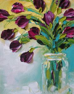 Original Oil Painting Purple Tulips Impasto Palette Knife Oil Painting canvas…